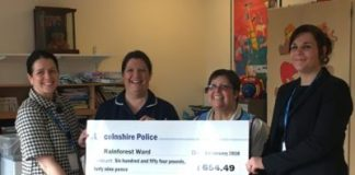 Lincoln County Hospital receive ward donation from Lincolnshire police